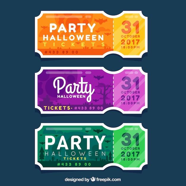 Pacchetto colorato di biglietti di halloween piatti Vettore gratuito