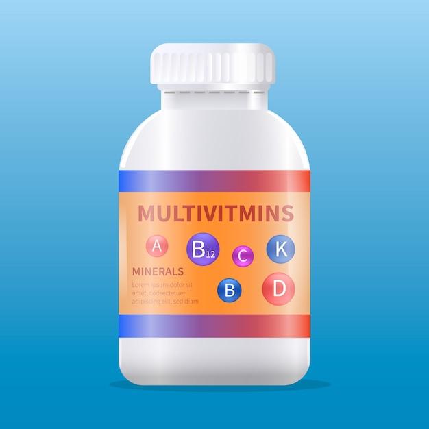 Pacchetto complesso vitaminico realistico Vettore gratuito