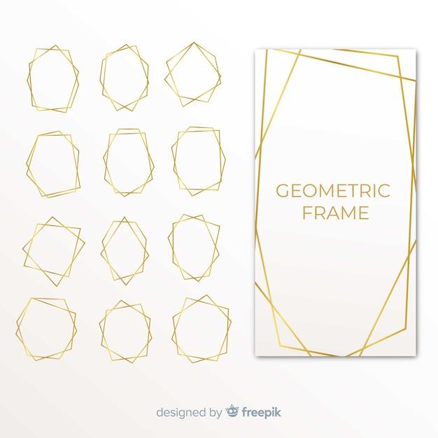 Pacchetto cornice dorata geometrica Vettore gratuito