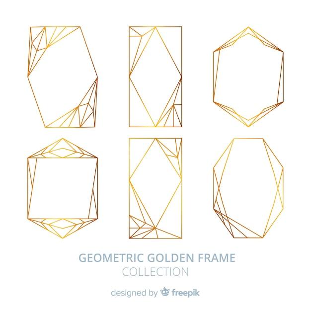 Pacchetto cornice geometrica dorata Vettore gratuito