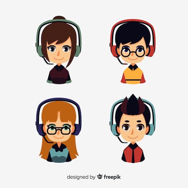 Pacchetto creativo di avatar di call center Vettore gratuito