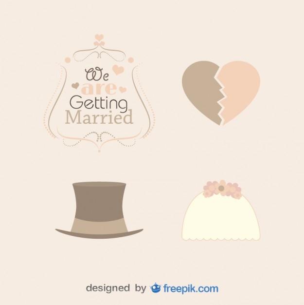 Pacchetto d'epoca matrimoni cappelli Vettore gratuito