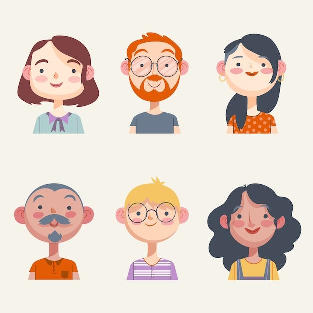 Pacchetto dell'illustrazione degli avatar della gente Vettore gratuito
