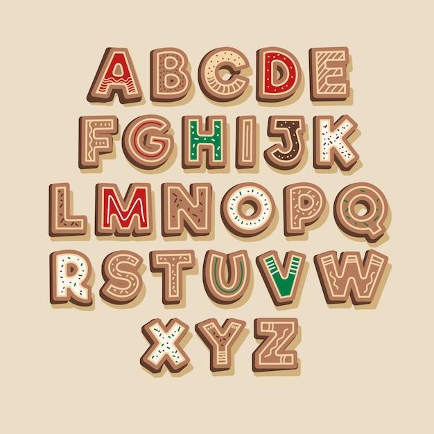Pacchetto di alfabeto di natale di pan di zenzero Vettore gratuito