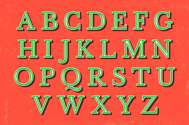 Pacchetto di alfabeto di natale vintage Vettore gratuito