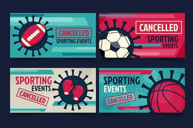 Pacchetto di banner per eventi sportivi cancellati Vettore gratuito