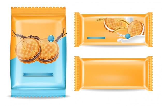 Pacchetto di biscotti al cioccolato mock up Vettore Premium