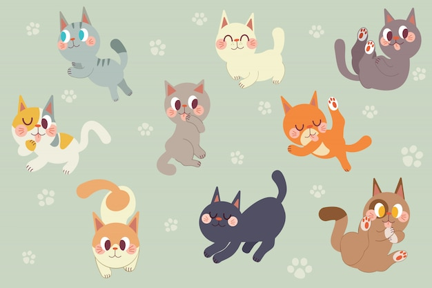 Pacchetto di caratteri di gatti svegli del fumetto Vettore Premium
