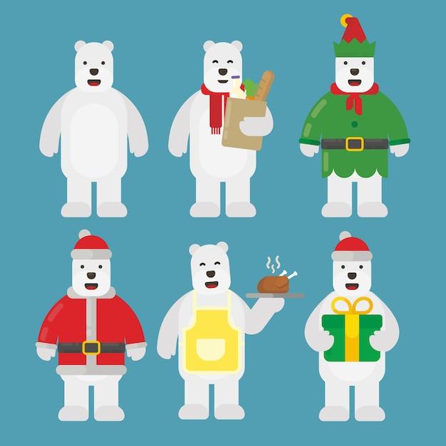 Pacchetto di caratteri orso polare di natale in design piatto Vettore Premium