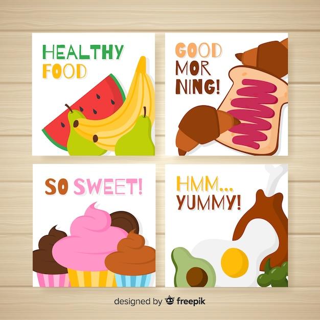 Pacchetto di carte cibo disegnato a mano Vettore gratuito