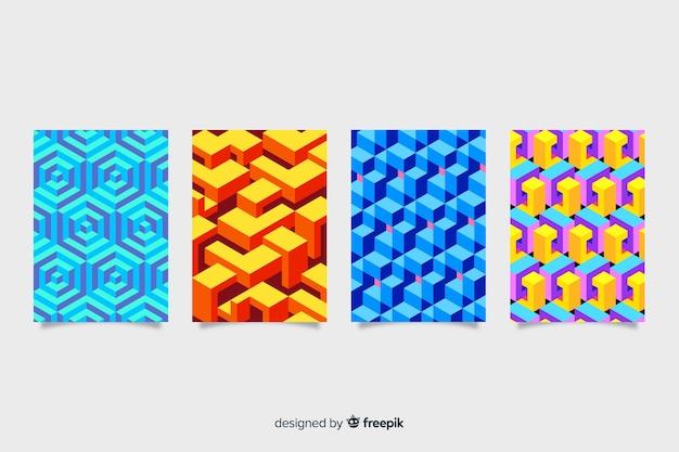 Pacchetto di copertura colorato modello isometrico Vettore gratuito