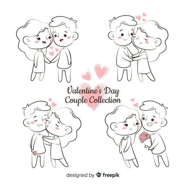 Pacchetto di coppia di san valentino dei cartoni animati Vettore gratuito