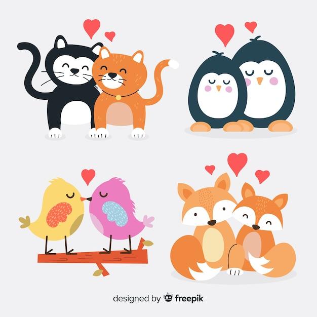Pacchetto di coppie animali carino di san valentino Vettore gratuito