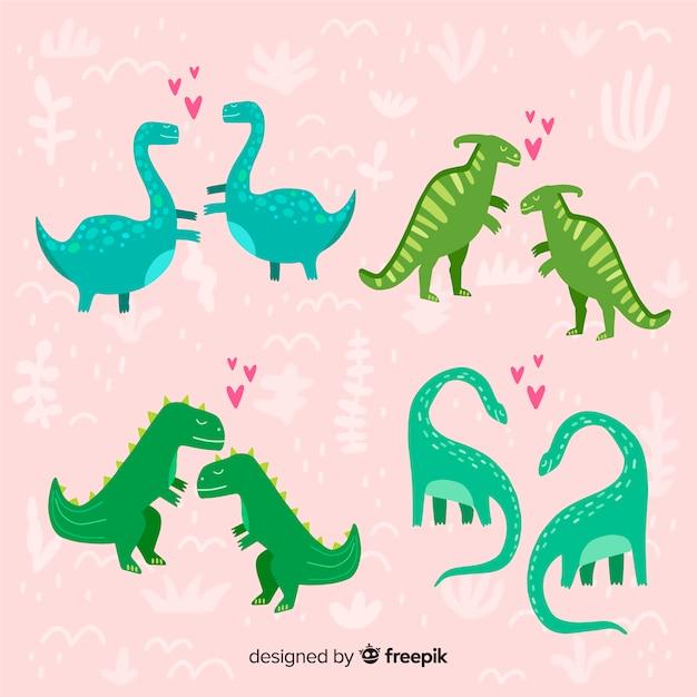 Pacchetto di coppie di dinosauri di san valentino Vettore gratuito