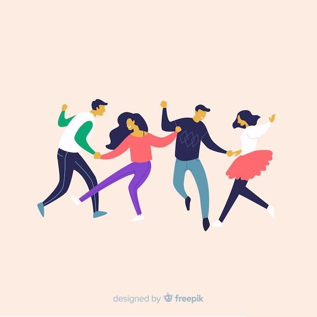 Pacchetto di danza giovani disegnati a mano Vettore gratuito