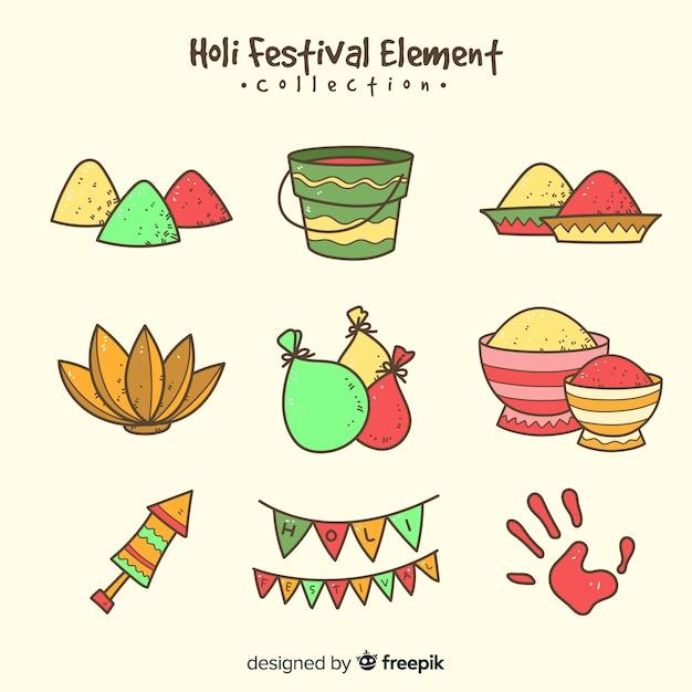 Pacchetto di elementi del festival di holi Vettore gratuito