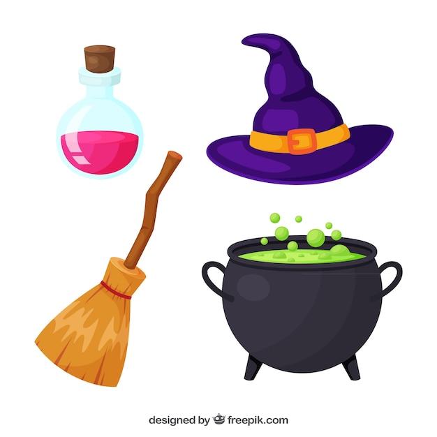 Pacchetto di elementi della strega di halloween Vettore gratuito