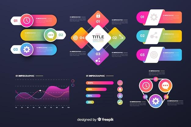 Pacchetto di elementi di infographics di affari gradiente Vettore gratuito