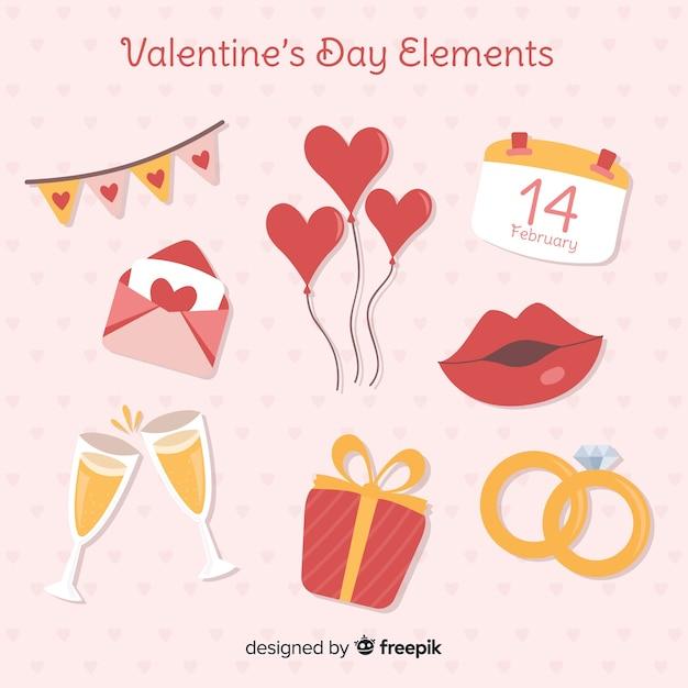 Pacchetto di elementi di san valentino piatto Vettore gratuito