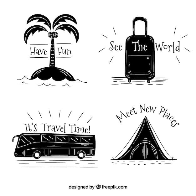 Pacchetto di elementi di viaggio disegnati a mano con messaggi Vettore gratuito