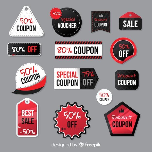 Pacchetto di etichette di vendita coupon creativo Vettore gratuito
