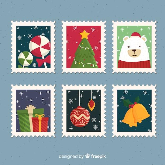 Pacchetto di francobolli di natale con fiocchi di neve Vettore gratuito