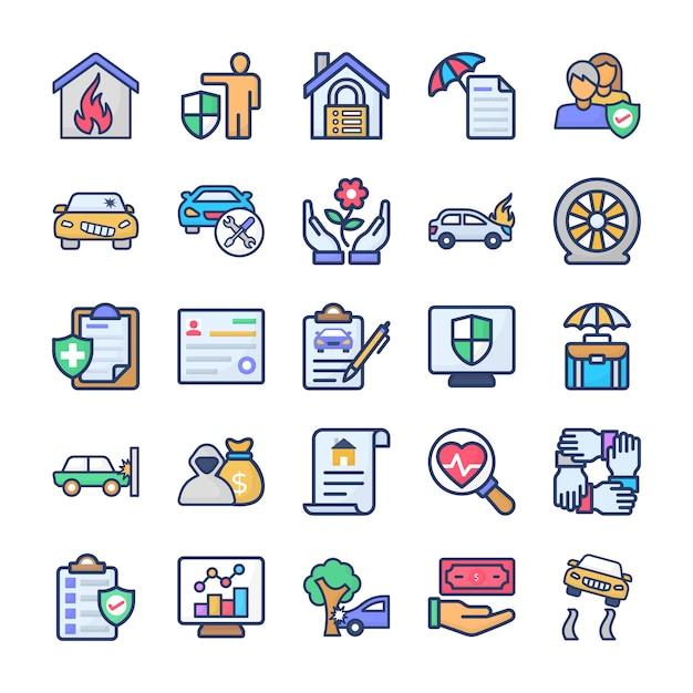 Pacchetto di icone di assicurazione Vettore Premium