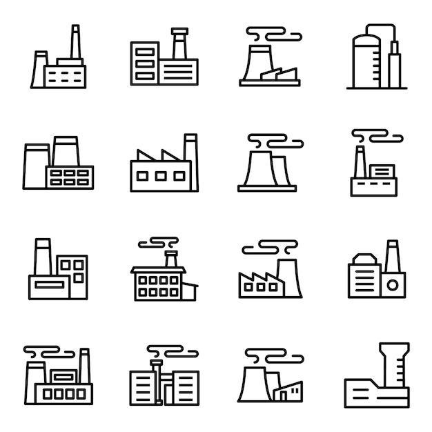 Pacchetto di icone di fabbrica, con stile icona di contorno Vettore Premium