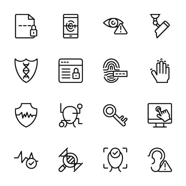 Pacchetto di icone di linea biometrica Vettore Premium