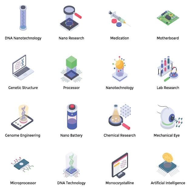 Pacchetto di icone di nanotecnologia Vettore Premium