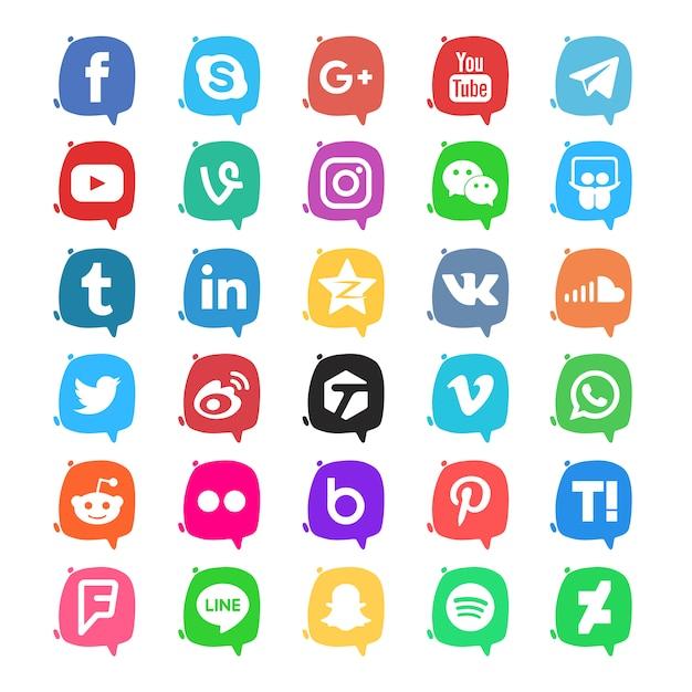 Pacchetto di icone di social media Vettore gratuito