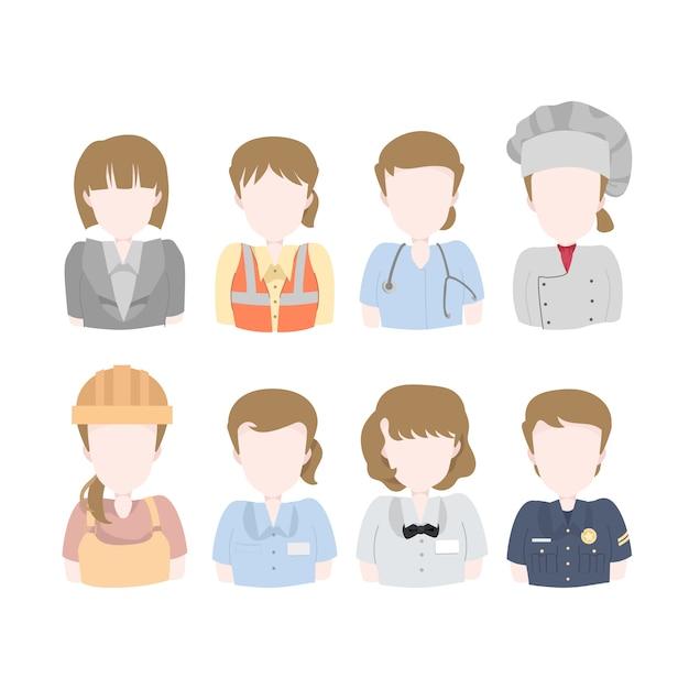 Pacchetto di illustrazione di avatar operaio donna Vettore Premium