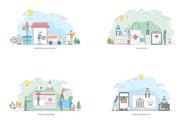 Pacchetto di illustrazioni piatte di affari online Vettore Premium