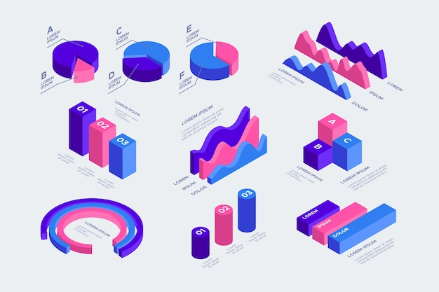 Pacchetto di infografica isometrica Vettore gratuito