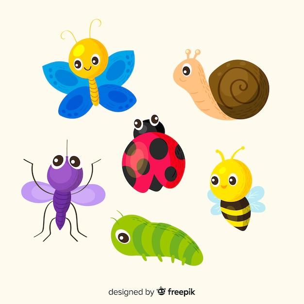 Pacchetto di insetti disegnati a mano carino Vettore gratuito