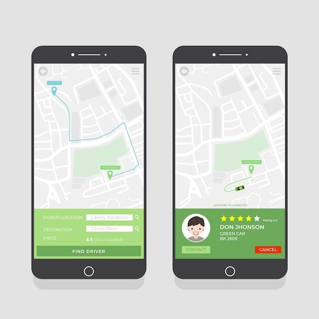 Pacchetto di interfaccia per app taxi Vettore gratuito