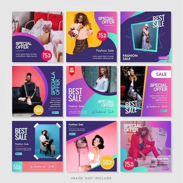 Pacchetto di layout di news feed di instagram Vettore Premium