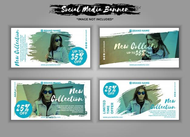 Pacchetto di modelli di banner di social media di moda Vettore Premium