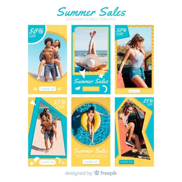 Pacchetto di modelli di vendita estate instagram storie Vettore gratuito