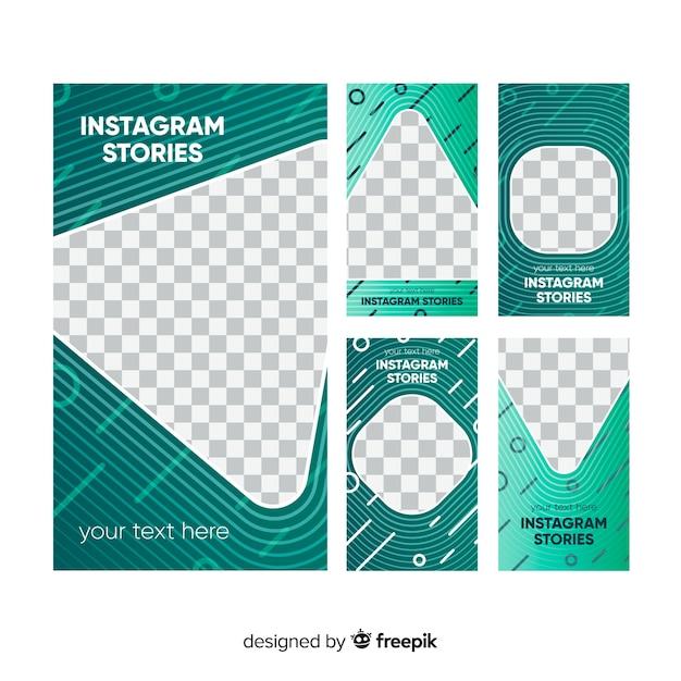Pacchetto di modello astratto di storie di instagram Vettore gratuito
