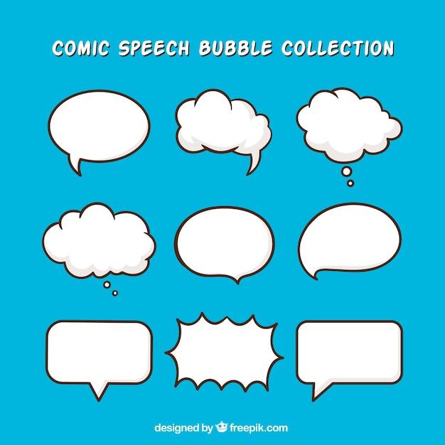 Pacchetto di palloncini di dialogo disegnati a mano Vettore gratuito