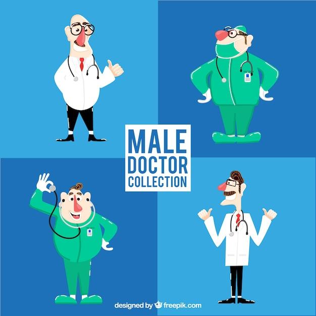 Pacchetto di personaggi maschi di medici e chirurghi Vettore gratuito