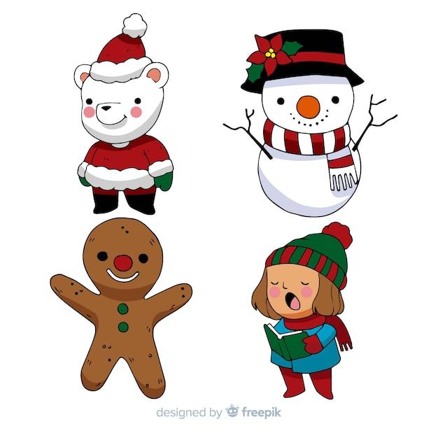 Pacchetto di personaggi natalizi dei cartoni animati Vettore gratuito