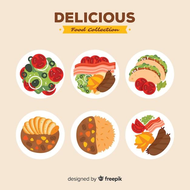 Pacchetto di piatti deliziosi Vettore gratuito