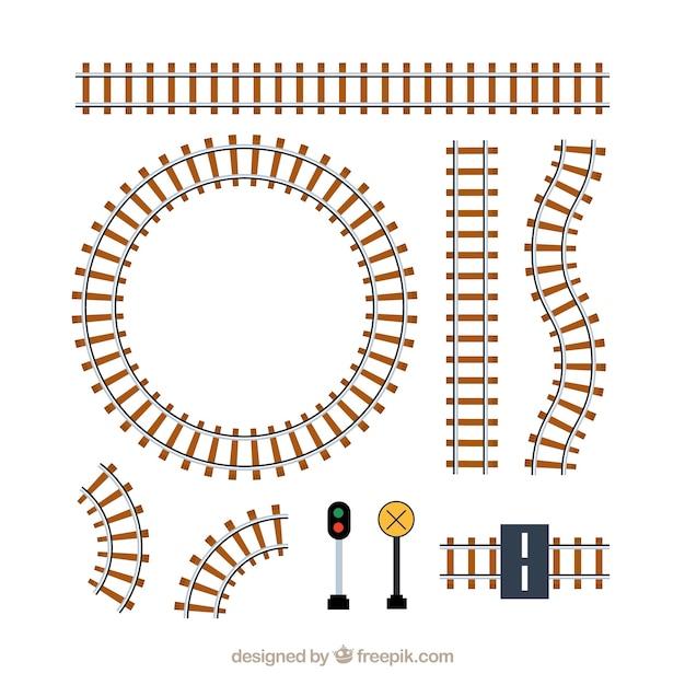 Pacchetto di piste e segni del treno Vettore gratuito