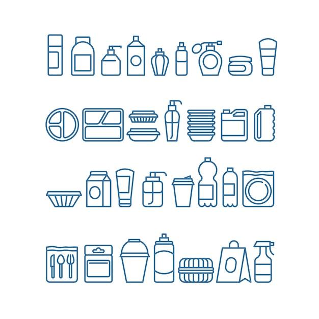 Pacchetto di prodotti in plastica, stoviglie usa e getta, contenitori per alimenti, icone di linea di tazze e piatti Vettore Premium