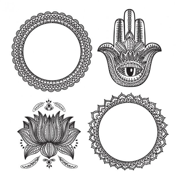 Pacchetto di quattro decorazione ornamentale Vettore Premium