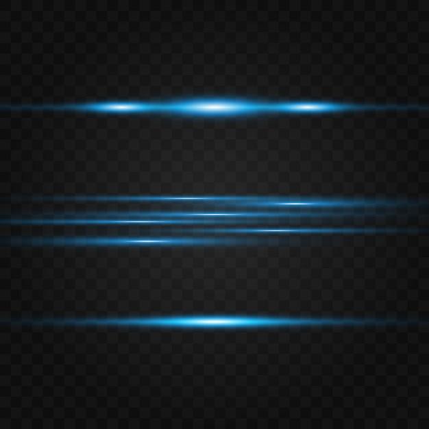 Pacchetto di razzi blu con lente orizzontale. raggi laser, raggi di luce orizzontali. bellissimi bagliori di luce. Vettore Premium
