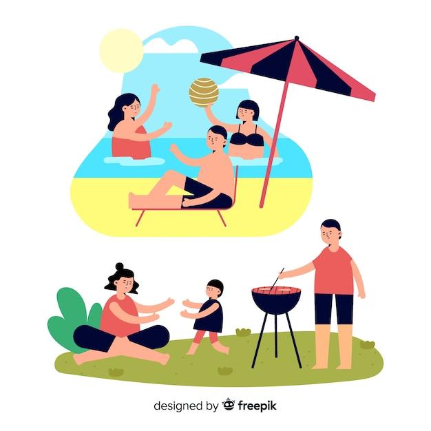 Pacchetto di scene all'aperto per famiglie disegnate a mano Vettore gratuito