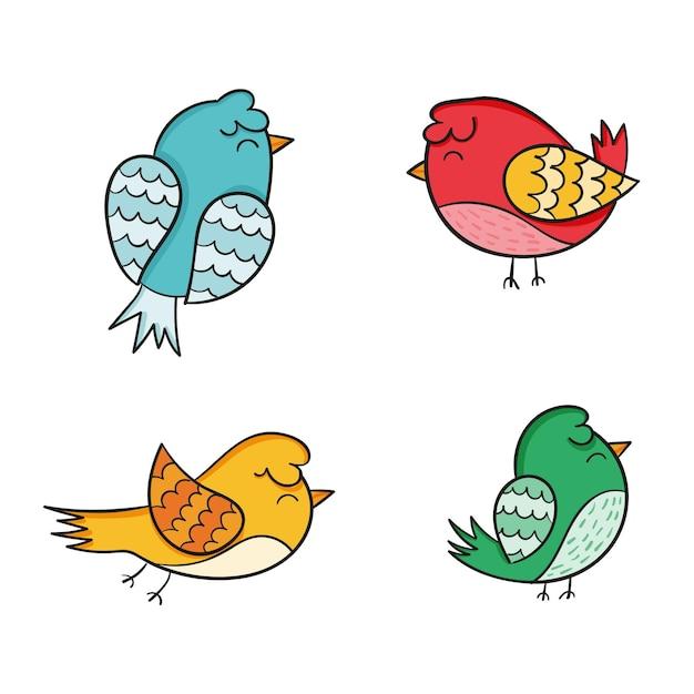 Pacchetto di uccelli disegnati a mano Vettore gratuito